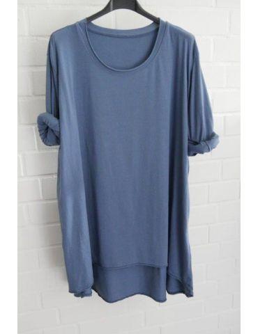 Damen Shirt langarm jeansblau blau uni mit Baumwolle Onesize 38 - 46
