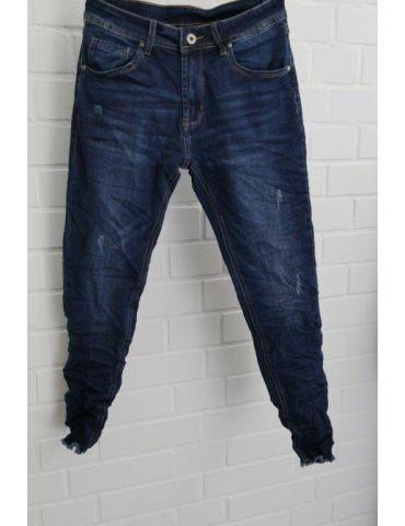 Xuna Jeans Hose Damenhose blau verwaschen Beinabschluß gefranst 3902