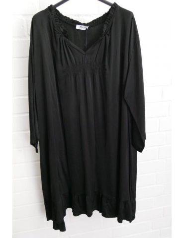 Xuna Damen Tunika Kleid Satin Raffung schwarz black Onesize 38 - 46