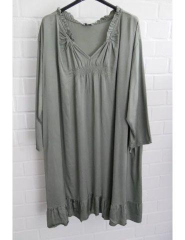 Xuna Damen Tunika Kleid Satin Raffung helloliv lind grün Onesize 38 - 46