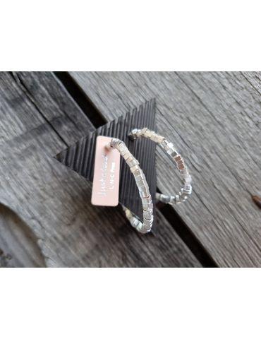 Bijoux Damen Modeschmuck Ohrringe Kreole silberfarben matt Plättchen 8092820