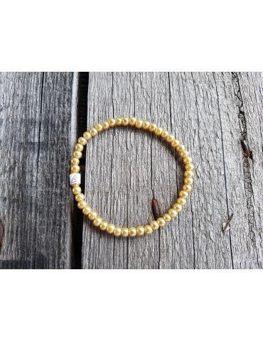Armband Perlenarmband Perlen klein gold gelb Glanz Schimmer elastisch