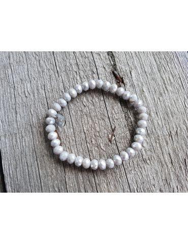 Bijoux Armband Kristallarmband Perlen hellgrau groß Glitzer Schimmer elastisch