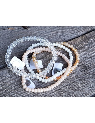 Armband Kristallarmband Perlen hellbeige matt...