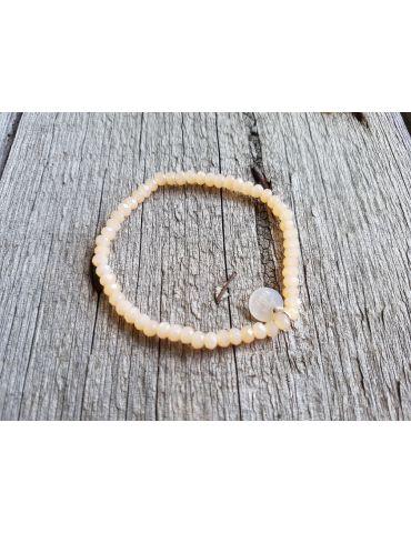 Armband Kristallarmband Perlen hellbeige klar klein Glitzer Schimmer elastisch
