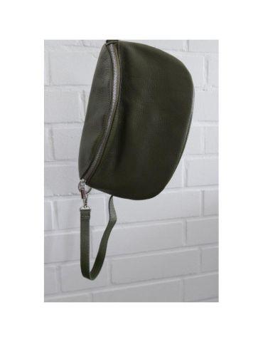 Damen Echt Leder Gürtel Tasche Handtasche Bauchtasche oliv grün khaki uni Gr. M