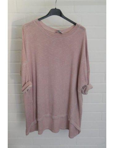 ESViViD Damen Shirt 3/4 Ärmel altrose rosa mit Baumwolle Onesize ca. 38 - 44 3611