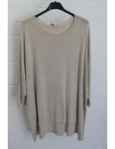 ESViViD Damen Shirt 3/4 Ärmel beige mit Baumwolle Onesize ca. 38 - 44 3611
