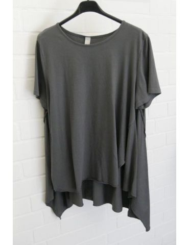 Wendy Trendy Damen Shirt kurzarm anthrazit grau uni Baumwolle Onesize 38 - 44 217491