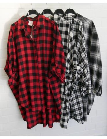 Damen Bluse schwarz rot Karo groß A-Form lang...
