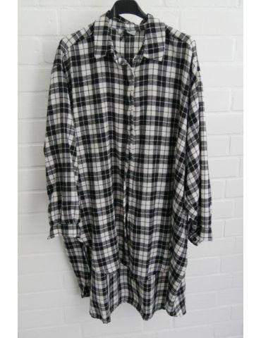 Xuna Damen Bluse schwarz weiß Karo unegal groß A-Form lang Onesize 38 - 46