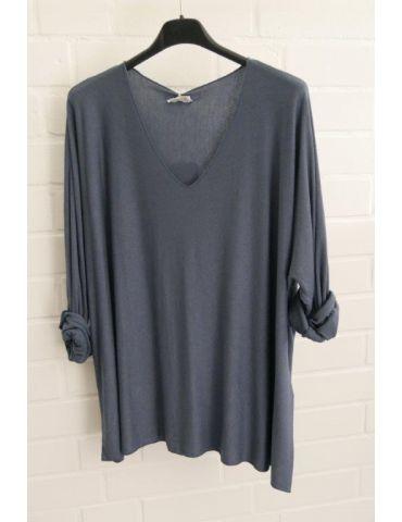 Damen Basic Shirt langarm rauchblau blau matt uni mit Viskose Onesize ca. 38 - 46