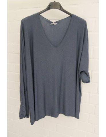 Damen Basic Shirt langarm rauchblau blau matt...