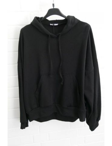 Xuna Big Size Hoodie Sweat Shirt langarm schwarz black uni Baumwolle