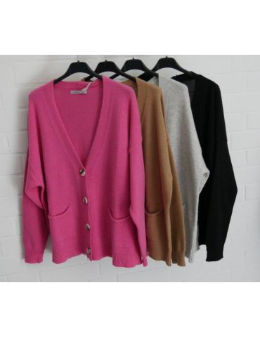 Damen Strick Jacke kurz pink mit Kaschmir...
