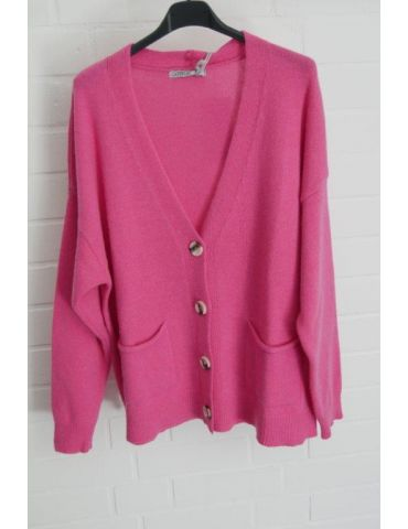 Damen Strick Jacke kurz pink mit Kaschmir Knöpfe Onesize 38 - 44