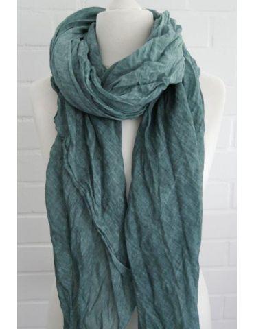 XXL Schal Tuch petrol verwaschen 100% Baumwolle Asymmetrisch Blogger Style