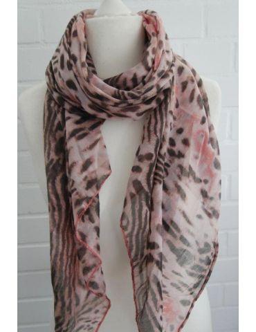 Schal Tuch Loop Made in Italy Seide Baumwolle rose - lachs braun schwarz Leo