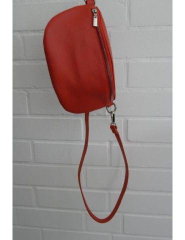 Damen Echt Leder Gürtel Tasche Handtasche Bauchtasche dunkel orange uni Gr. M