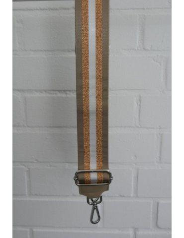 Taschen Gurt Handtasche Gürteltasche beige bronze weiß Streifen Glanz silberne Karabiner