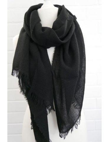 Leichter XL Damen Schal Tuch schwarz black uni mit Wolle