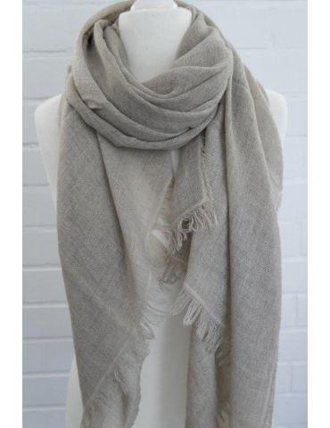 Leichter XL Damen Schal Tuch beige sand uni mit Wolle