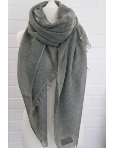 Leichter XL Damen Schal Tuch khaki oliv grün uni mit Wolle