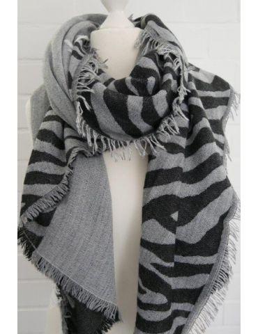 XXL Damen Schal Stola anthrazit grau Zebra mit Modal Made in Italy
