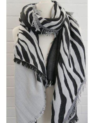 XXL Damen Schal Stola anthrazit hellgrau Zebra mit Modal Made in Italy