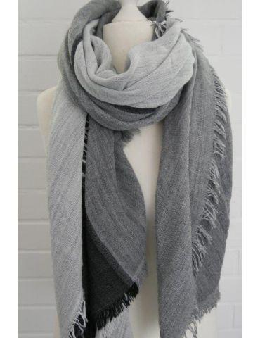 XXL Leichter Damen Winter Schal anthrazit grau hellgrau uni mit Modal Made in Italy