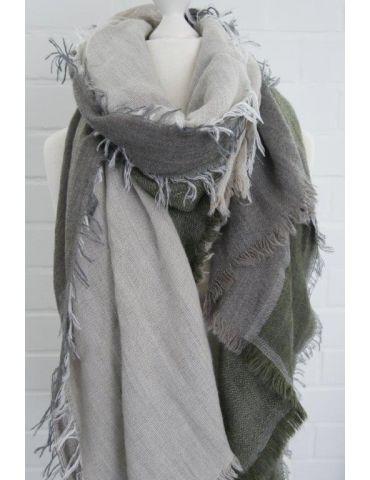XXL Leichter Damen Winter Schal schlamm natur khaki uni mit Modal Made in Italy