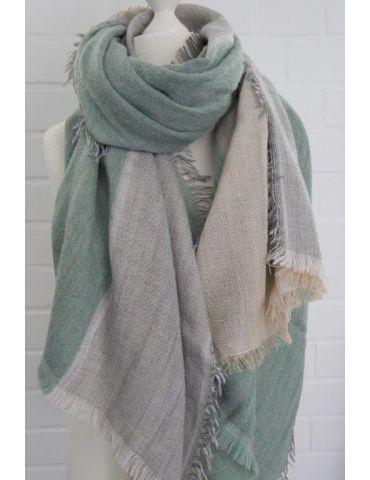XXL Leichter Damen Winter Schal grün natur taupe uni mit Modal Made in Italy