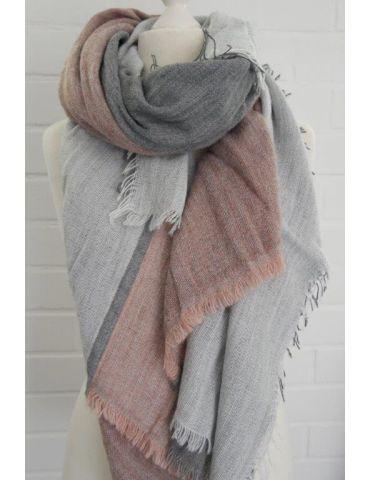 XXL Leichter Damen Winter Schal grau hellgrau alt rose uni mit Modal Made in Italy