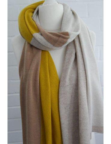 XXL Schal Stola Poncho gelb camel sand natur Karo mit Kaschmir