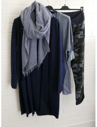 Leichter XL Damen Schal Tuch jeansblau blau uni...