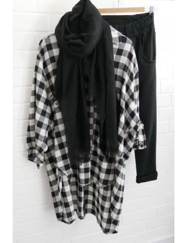 Damen Bluse schwarz weiß Karo groß A-Form lang...