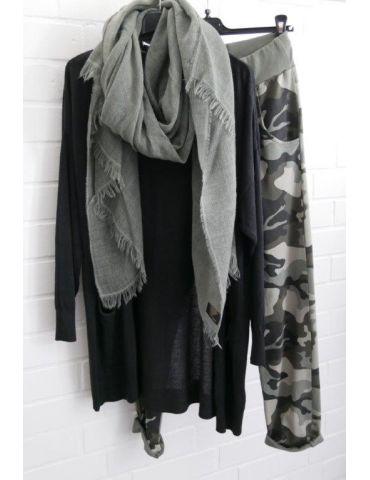 Leichter XL Damen Schal Tuch khaki oliv grün...