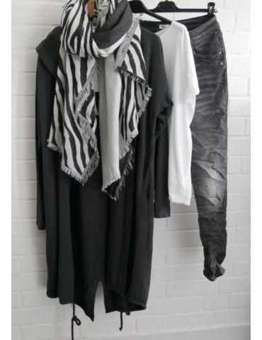 Damen Jacke Mantel anthrazit weiß mit Baumwolle...