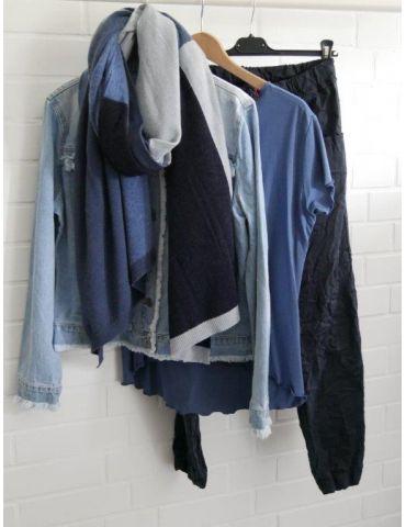 Damen Shirt kurzarm jeansblau mit Viskose...
