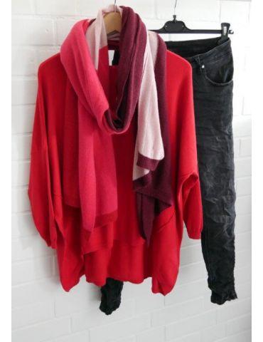 ESViViD Damen Pullover rot red Rundhals Onesize...