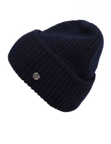 Zwillingsherz Damen Mütze Rippe Muster uni dunkelblau marine mit Wolle