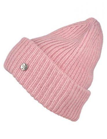 Zwillingsherz Damen Mütze Rippe Muster uni rose rosa mit Wolle