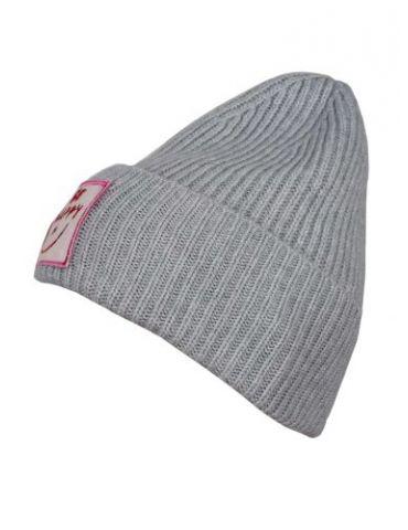 Zwillingsherz Damen Mütze Rippe uni hellgrau grau mit Logo