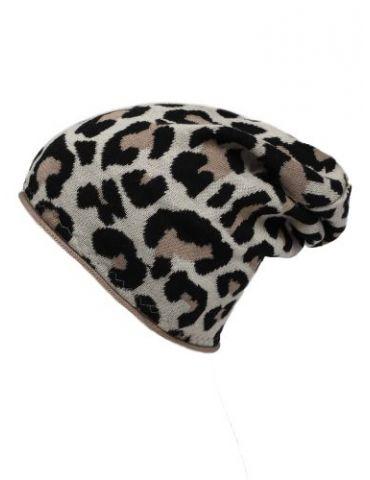 Zwillingsherz Mütze sand schwarz creme leo mit Kaschmir
