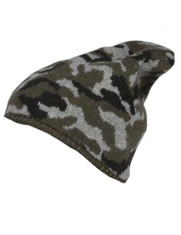 Zwillingsherz Mütze khaki oliv grün hellgrau Camouflage mit Kaschmir