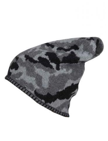 Zwillingsherz Mütze schwarz grau hellgrau Camouflage mit Kaschmir