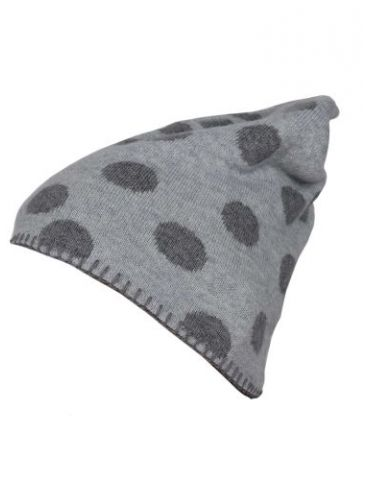 Zwillingsherz Mütze hellgrau grau Punkte mit Kaschmir