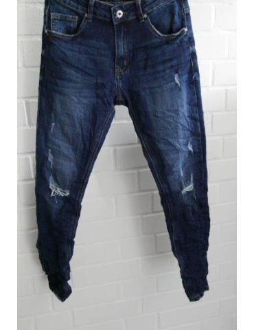 Xuna Jeans Hose Damenhose blau verwaschen mit Baumwolle Risse Abrieb 3912