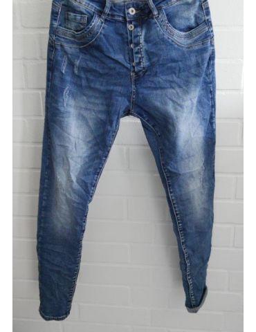 Melly & Co Bequeme Sportliche Damen Jeans blau verwaschen Abrieb mit Baumwolle 7153