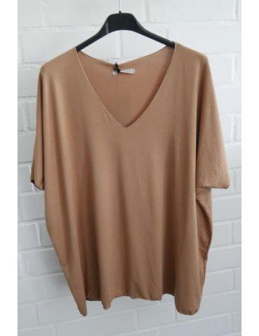 Damen Basic Shirt kurzarm camel caramell uni mit Viskose Onesize 38 - 46